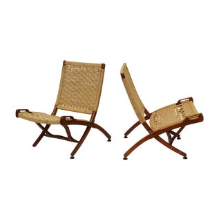 Wegner-Style Rope Seat Folding Chairs - a Pair