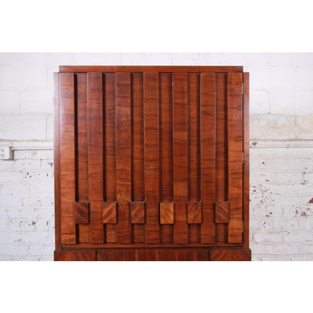 Brown Paul Evans Style Mid-Century Modern Brutalist Walnut Armoire Dresser by Lane For Sale - Image 8 of 13