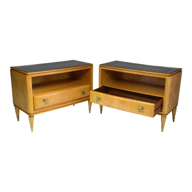 Mid 20th Century Italian Mid-Century Maple Wood Nightstands - a Pair For Sale
