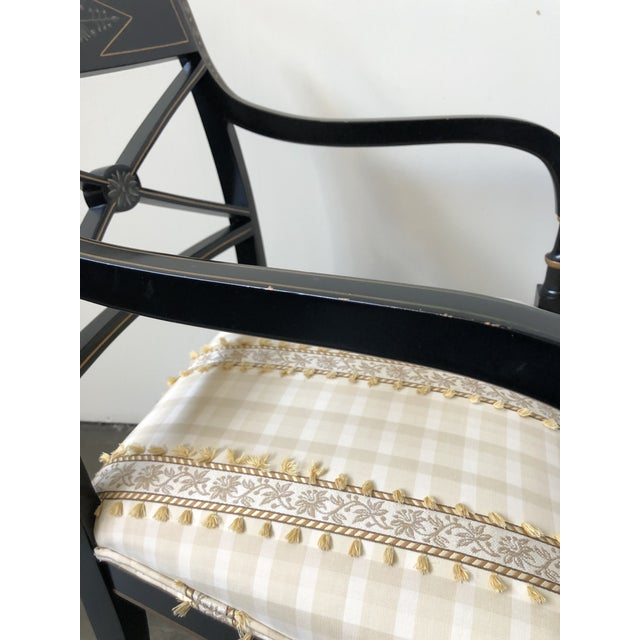 Regency Style Black and Gold Painted Arm Chairs - a Pair For Sale - Image 11 of 13