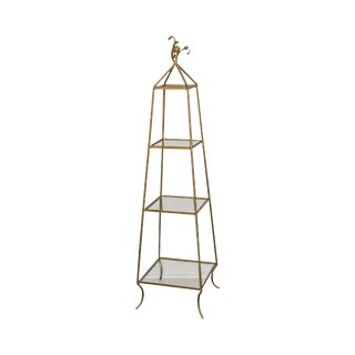 Hollywood Regency Gilt Metal Obelisk Etagere