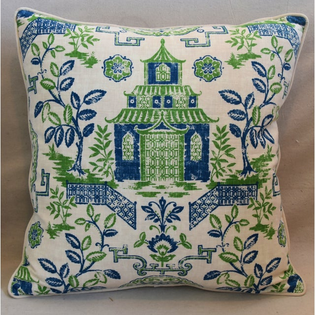 """Large 26"""" square custom-tailored chinoiserie blue, green and white pagoda linen pillow. Pillow front is a vintage/never..."""