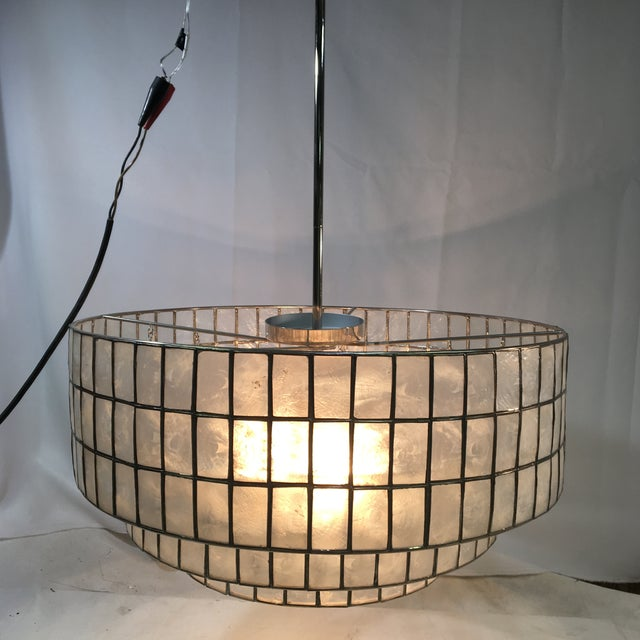 Contemporary West Elm Three-Light Tiered Modern Chandelier Light For Sale - Image 3 of 11