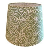 Image of Custom Quadrille Fabric Blue and Green Lamp Shade For Sale