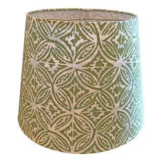 Custom Quadrille Fabric Blue and Green Lamp Shade For Sale