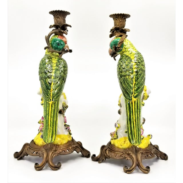 1970s Large Parrot Candlesticks Candle Holders a - Pair - Vintage Porcelain Chinese Ceramic Birds - Tropical Coastal Mid Century Modern Boho Chic Palm Beach For Sale - Image 5 of 13