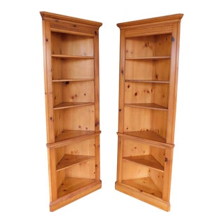 Pennsylvania House Pine Open Bookshelf Corner Wall Cabinets - a Pair For Sale