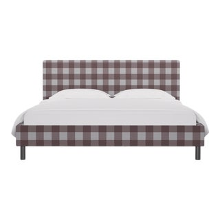 California King Tailored Platform Bed in Rose Check For Sale