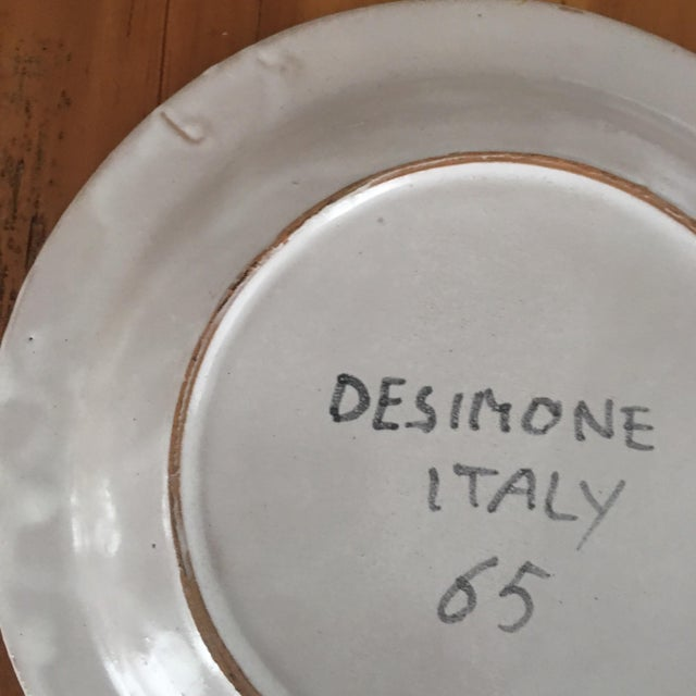 """Yellow DeSimone Italian Vintage Mid-Century 10"""" Charger Plate For Sale - Image 8 of 8"""