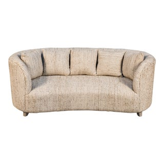 Collins Mid-Century Woven Cotton Sofa For Sale