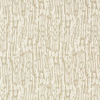 Sample - Schumacher Tree Texture Wallpaper in Natural For Sale