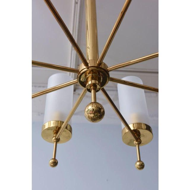 Gold Italian Modern Brass and Glass Eight-Light Chandelier in the Manner of Stilnovo For Sale - Image 8 of 9