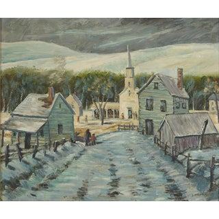 Oil Painting of a New England Village in Winter in Vermont For Sale