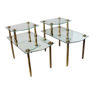 Mid-Century Solid Brass Mirrored End Tables - A Pair