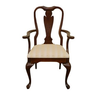 Cresent Queen Anne Style Dining Arm Chair For Sale