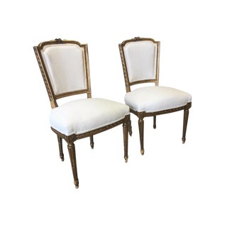 French Antique Louis XVI Style Parcel Gilt Side Chairs - a Pair For Sale