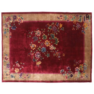 1920s Antique Chinese Art Deco Period Rug - 8′10″ × 11′4″ For Sale