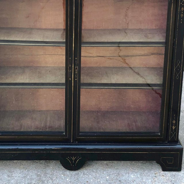 19th Century French Napoleon III Period Ebonized Barrister's Bookcase For Sale - Image 11 of 12