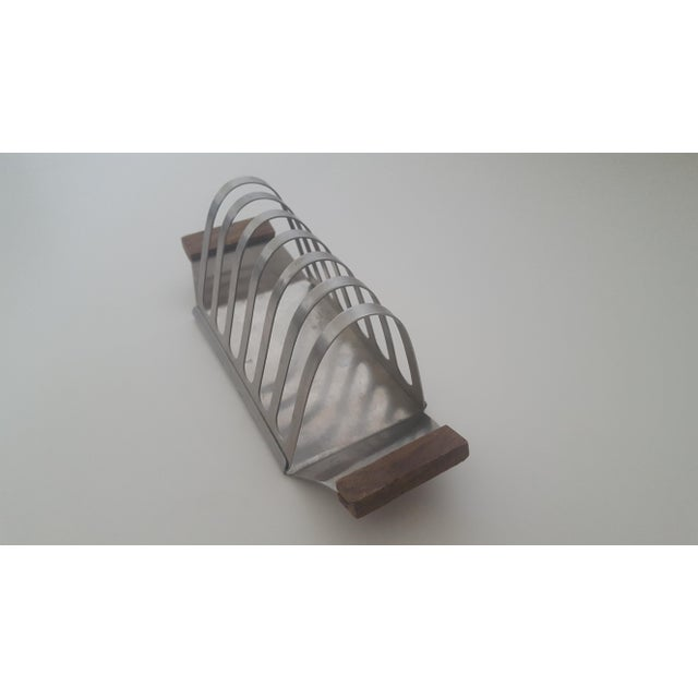 Mid Century Stainless Steel and Rosewood Toast Rack Holder For Sale - Image 4 of 11