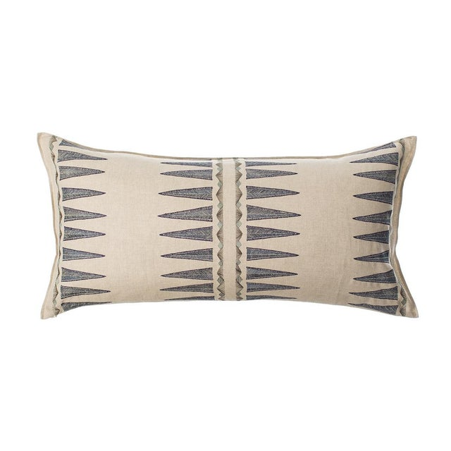 Navy Quill Lumbar Pillow For Sale - Image 4 of 4