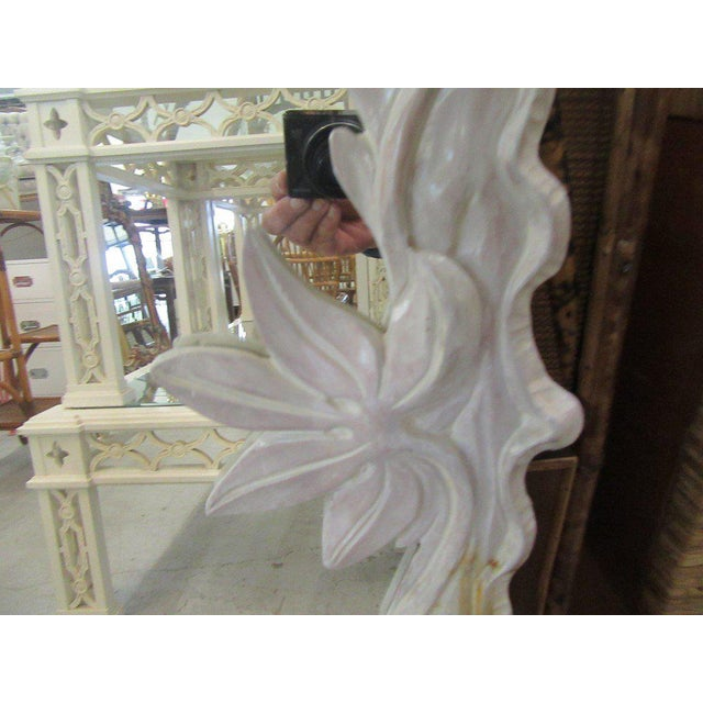 Late 20th Century White Carved Flower Vine Mirror, Late 20th Century For Sale - Image 5 of 7