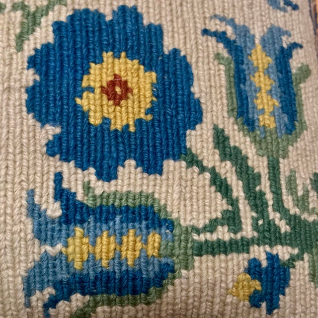 Blue 1950s Shabby Chic Handmade Needlepoint Pillow For Sale - Image 8 of 13