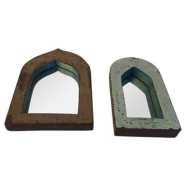 Pair of vintage Indian archway mirrors with painted and distressed teak wood frames. Purchased in India. Smaller mirror,...