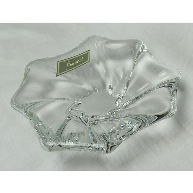 """Beautiful vintage Baccarat crystal """"Free-Form"""" small candy dish / bowl, stamped """"BACCARAT""""."""