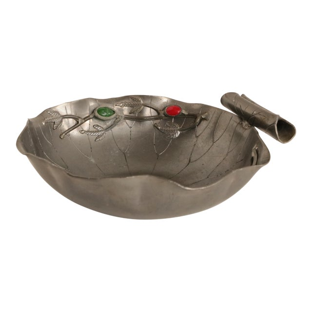 Chinese Gemmed Pewter Lotus Bowl For Sale