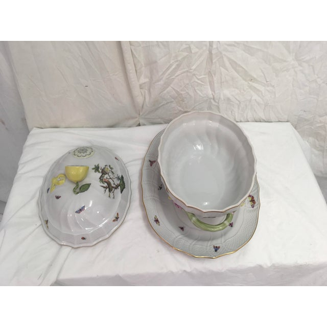 Green Herend Rothschild Tureen W/ Underplate For Sale - Image 8 of 13