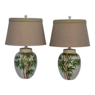 Glazed Ceramic Palm Tree Lamps - A Pair For Sale