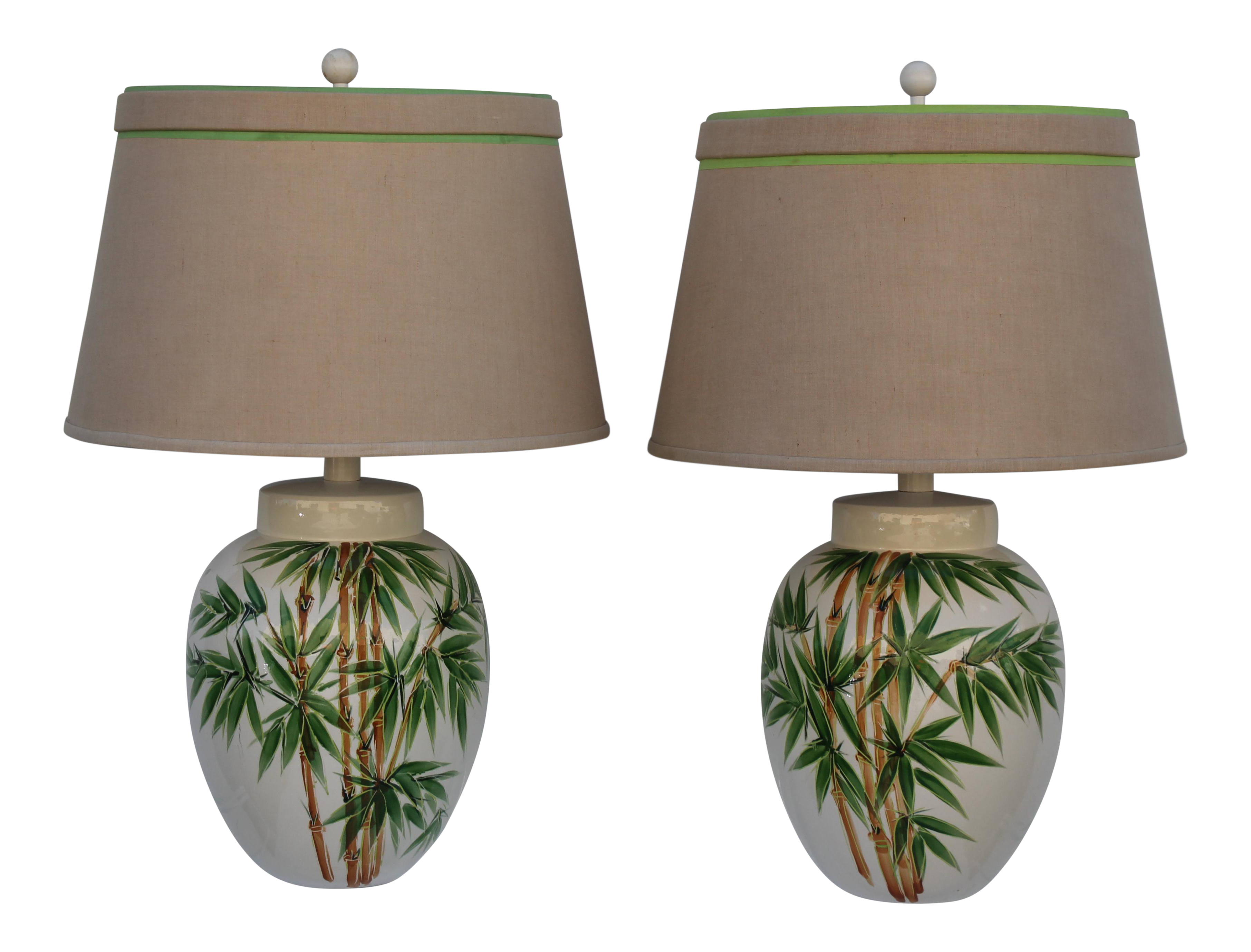 Glazed Ceramic Palm Tree Lamps   A Pair