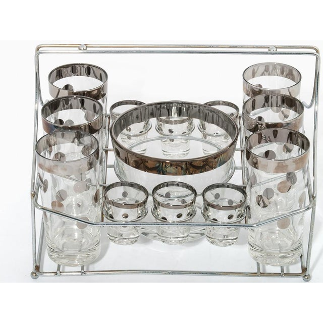 Sterling Silver Polka-dot Pattern Glassware in bar caddy housing: (6) highball glasses (6) shot glasses & ice bow.