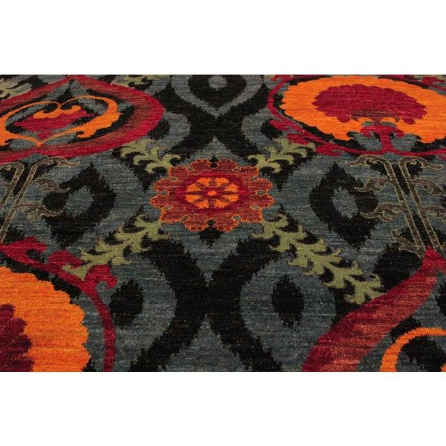 Textile Kafkaz Peshawar Zack Gray/Blue Wool Rug - 7'10 X 10'3 For Sale - Image 7 of 8