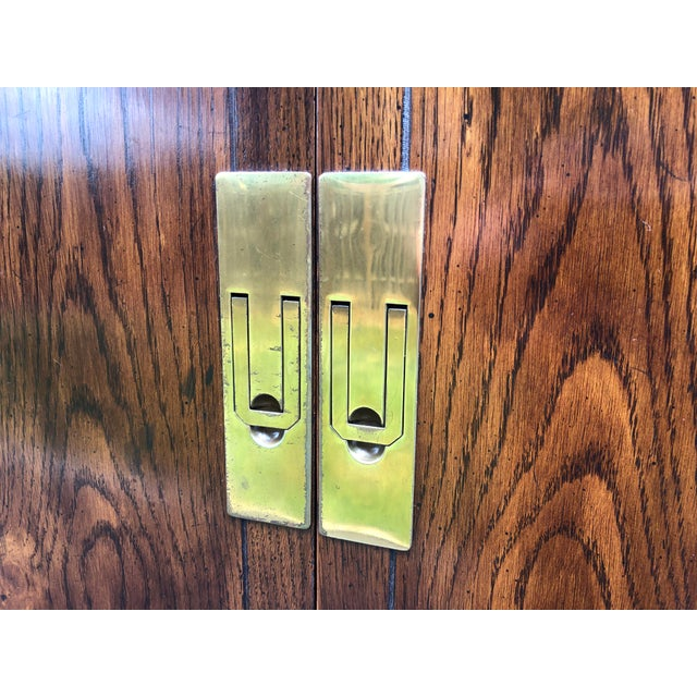 Henredon Scene One Campaign Style Armoire Cabinets 1980s - a Pair For Sale - Image 9 of 12