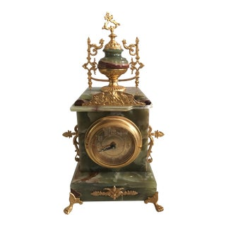 1940s Art Nouveau Pakistani Jade Stone Clock