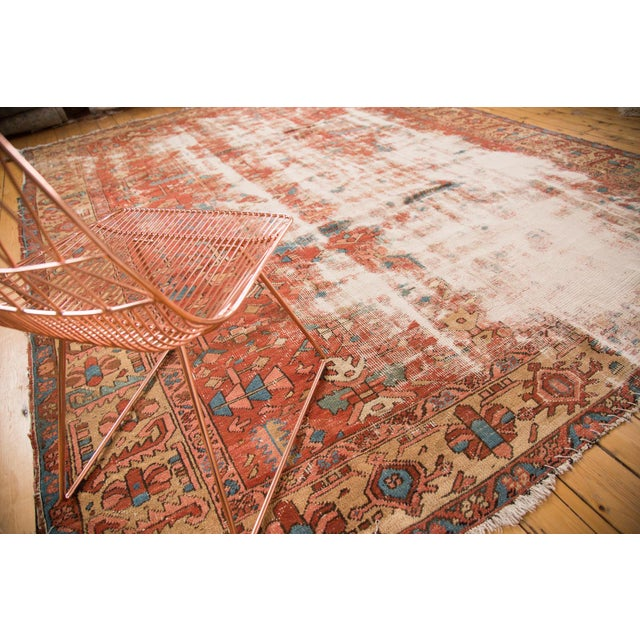 """Traditional Antique Distressed Heriz Carpet - 9'7"""" x 12'2"""" For Sale - Image 3 of 7"""
