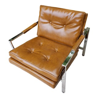Mid-Century Danish Modern Milo Baughman Thayer Coggin Chrome Cube Lounge Chair For Sale