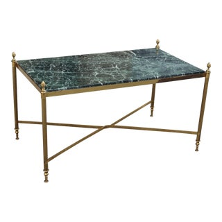 French Art Deco Maison Jansen Coffee or Cocktail Table Bronze Rectangular With Green Marble Top Circa 1940s