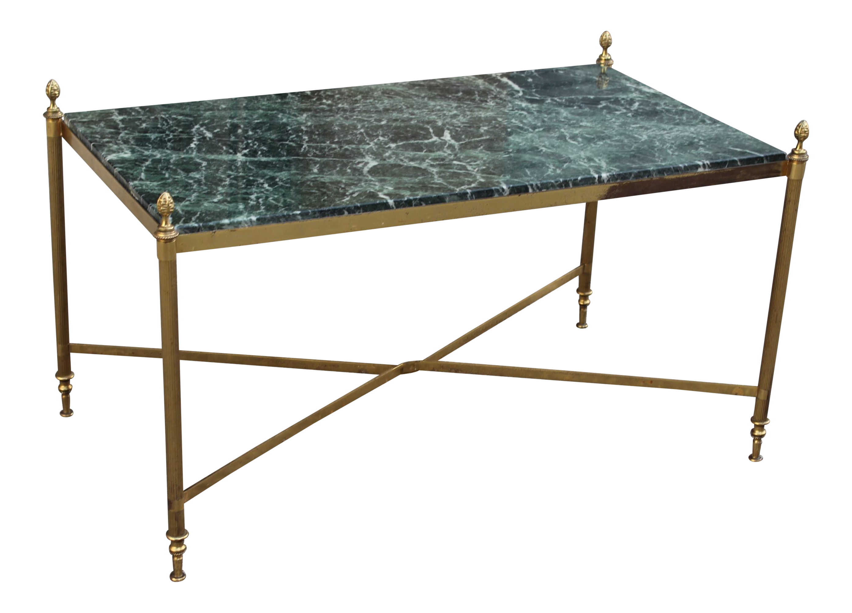 French Art Deco Maison Jansen Coffee Or Cocktail Table Bronze Rectangular  With Green Marble Top Circa