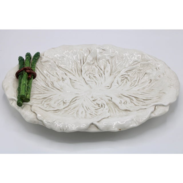 Italian Mid Century Italian Ceramic White Cabbage Leaf and Asparagus Platter For Sale - Image 3 of 13