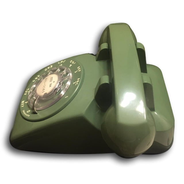 Mid-Century Modern Green Rotary Dial Phone - Image 3 of 5