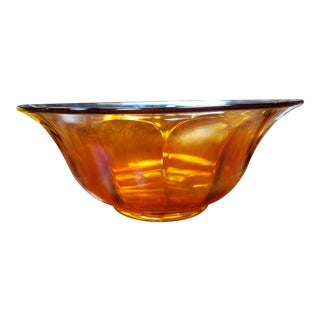 Mid 20th Century Marigold Carnival Glass Wide Ribbed Fruit Bowl For Sale