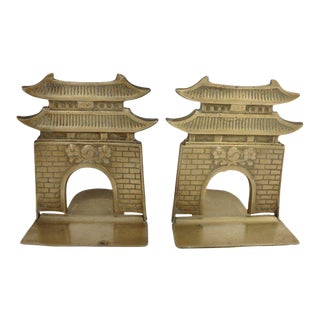 Chinoiserie Pagoda Solid Brass Bookends - a Pair For Sale
