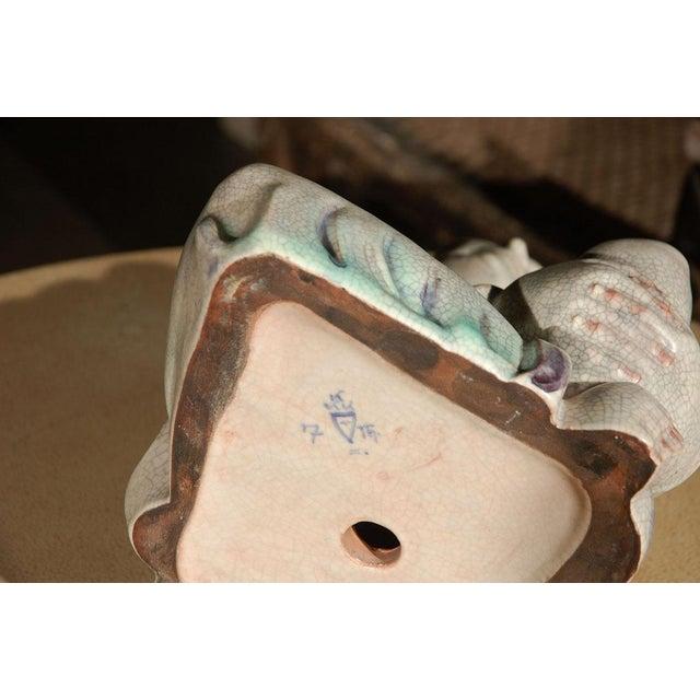 Ceramic Large Crackle Glazed Luohan Figure For Sale - Image 7 of 8