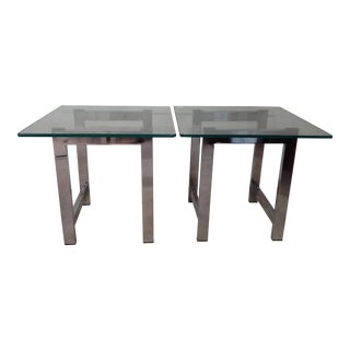 Mid Century Modern Milo Baughman Style Chrome and Glass End Tables - Set of 2 For Sale