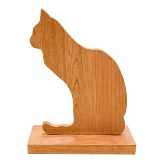 Vintage Wood Cat Statue For Sale