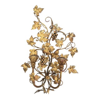 Vintage Mid-Century Gold Gilt Tole Ribbon Tied Grape Vine Sconce For Sale