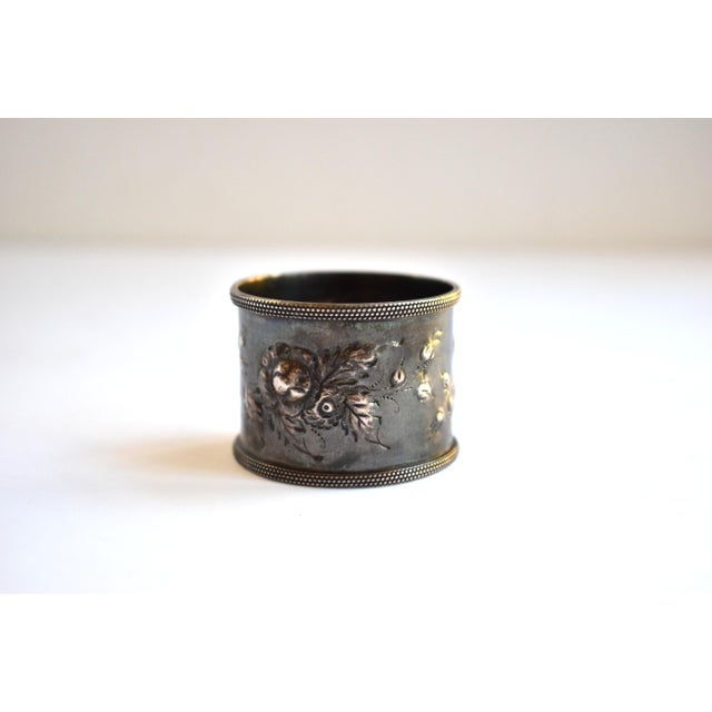19th Century Antique Victorian Repoussé Napkin Ring Holder For Sale - Image 4 of 8