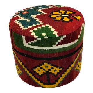 Vintage Handmade Kilim Ottoman For Sale